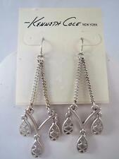 Kenneth Cole matte silver tone dangle earrings, NWT