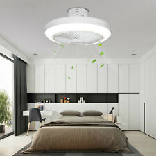 46cm Ceiling Fan Dimmable Flush Mount Invisible 5 Blades 3 Speed Fan Led Light