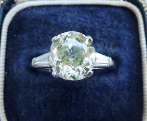 Art deco platinum 3.95ct diamond solitaire engagement old & baguette cut ring