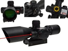 Red Green Dot 2.5-10x40 Cross Optic Scope Laser Sight 20mm Rail Mount for Rifle