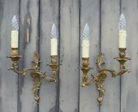 Pair Antique French Solid Bronze 2-Arm Rococo Wall Lights, C1950's, Nice Patina