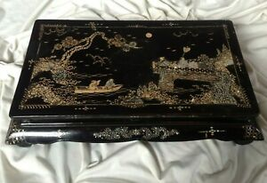 China Antique Marquetry Lacquer Mother of Pearl Inlaid Kang Table Qing dynasty