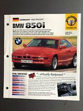 "1989 > BMW 850i Coupe IMP ""Hot Cars"" Spec Sheet Folder Brochure Awesome L@@K"