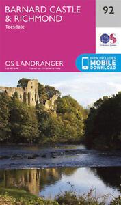 Barnard Castle and surrounding area Landranger Map 92 Ordnance Survey Latest