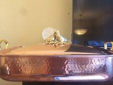 RUFFONI Historia Hammer Copper Rectangular Roasting Pan w Lovebirds Finial - NEW