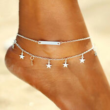 """Chain Foot Beach Anklet Adjustable 8.5""""-11"""" A7 925 Silver Plt Stars Id Bar Ankle"""