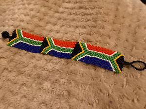 Zulu Glass Beaded Bracelet Wristband South African Flag Handmade by Zulu Ladies