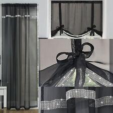 Black Diamante Sparkle Ibiza Voile Net Curtain Slot Top Single Panel / Tie Blind