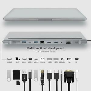 12-in-1 USB-C Hub Type-C Multiport 4K HDMI Card Reader Adapter For MacBook-Pro