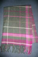 J CREW Light Weight Blanket Scarf ~ Pink Olive Green Gray Tartan Plaid Fringed