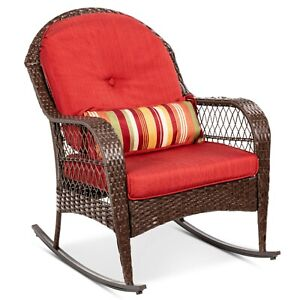 Wicker Rocking Chair Outdoor Patio Furniture Sets Red Cushion Lawn Porch Deck