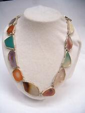 Collana in ARGENTO 925 con fette d'AGATA di vari colori - girocollo pietra dura