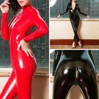 Damen Kunstleder Langarm Glanz Wetlook Jumpsuit Reißverschluss Bodysuit Overall