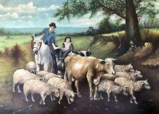 "Primitive Folk Art Painting ""Herding The Cows & Sheep Home"" Signed & Framed"