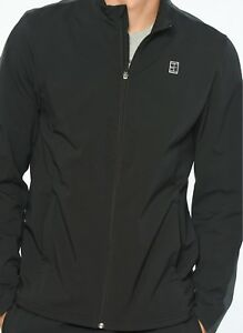 Nike Court Woven tennis jacket - anthracite black with grey trim - adult M