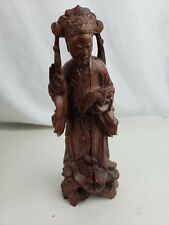 Old chinese carved wood figurine, crack