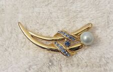Design Faux Pearl Blue Rhinestone Ds6 Classic Style Pin Brooch Whimsical Linear