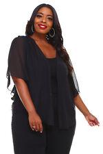 Womens BLACK Plus Size 1X Chiffon Cardigan Bolero Top WearOrGoBare