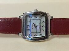 ECLISSI Sterling Silver Women's Quarts Watch Red Genuine Leather Mother Of Pearl