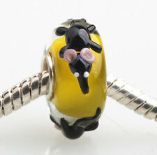1pcs SILVER MURANO GLASS BEAD LAMPWORK Animal European Charm Bracelet DW097