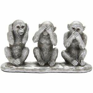 SILVER REFLECTION 3 WISE MONKEYS HEAR SPEAK SEE NO EVIL SPEAK ORNAMENTS