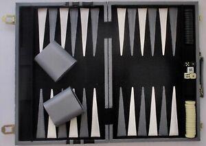 "Pressman Backgammon Set Grey Faux Leather Travel Case 19x15 1"" Checkers Vintage"