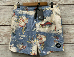 Quiksilver Swim Trunks Mens Size Large Hawaiian Volley Swim Trunk Shorts New