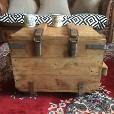 Vintage wooden old Pine Trunk Chest box Rustic Farmhouse Coffee table on wheels