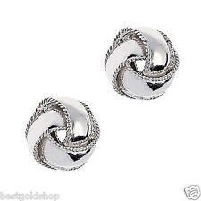 10mm Textured Trim Love Knot Rosetta Stud Earrings Real 925 Sterling Silver