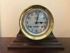 "Chelsea Shipstrike Ship's Bell Mantle Clock Brass 6"" - Mahogany Stand with Key"