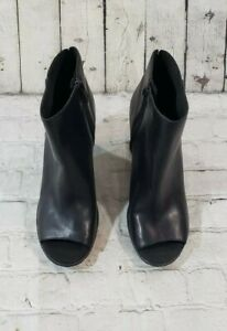 Timberland Tillston Peep Toe Black Leather Ankle Bootie Boots A1IE9 WN'S SZ 6.5