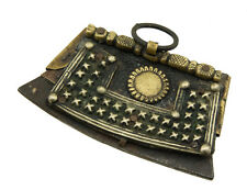 Ancien Briquet tibétain à silex-cuir de yak-fer-laiton-Tibet-9072