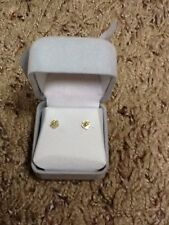 14KT Gold Diamond Mother Of Pearl Flower Stud Earrings With Gift Box