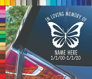 In Loving Memory of Personalized Butterfly Name Car Vinyl Decal Sticker