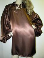 VINTAGE:   SATIN!  Shiny Chocolate Brown Satin Ballooon Shirt (XX-Long Slv.)