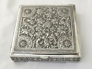 HEAVY VINTAGE PERSIAN  SILVER BOX / CIGARETTE BOX HALLMARKED