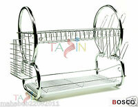 2 TIER CHROME PLATE DISH CUTLERY CUP DRAINER RACK DRIP TRAY PLATES HOLDER BOSCO