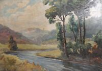 ANTIQUE IMPRESSIONIST OIL PAINTING RIVER LANDSCAPE SIGNED