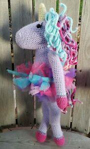 Handmade Unicorn Plush Lovey Doll Сrochet Baby Nursery Pillow Décor Purple Stuff
