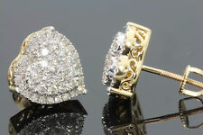 10K YELLOW GOLD .75 CARAT WOMENS 10 mm REAL NATURAL DIAMONDS HEART EARRING STUDS