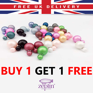 12 Colours Double Two Sided Pearl Stud Ball Earrings Big Pop White Black Colours