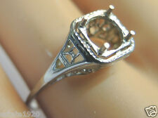 Antique Art Deco Vintage Setting Mounting 18K White Gold Hold 6MM Ring Size 7.5