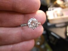 PRETTY SOLID 14K WHITE GOLD ENGAGEMENT RING, LARGE CZ SOLITAIRE, SMALLER ACCENTS