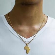 Women Men HipHop Gold Plated African Map Necklace Pendant Long Chain Jewelry