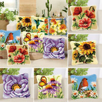 DIY Flowers Cross Stitch Pillow Case Embroidery Cushion Cover For Home Decors