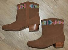 $245 BETTY BOOM IKAT SUEDE BOOT 7.5 MULTI BEADED ANKLE BOHO HIPPIE LOW HEEL xcon