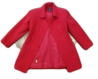 Ann Taylor  RED Pea Coat Jacket Blazer Size 0 Petites Double Breasted Wool