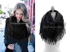BLACK FRINGE INFINITY Scarf Circle Crochet Knit Long Warm Eternity BOHO New