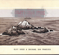 San Francisco 1890's Cliff House Ocean View Ship old Cigar Store Photo-Lith Card
