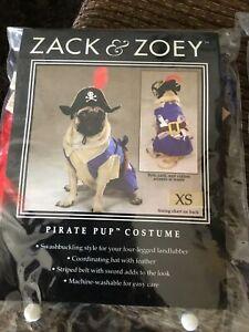 Zack & Zoey Pirate Pup Dog Costume Hat Feather Swashbuckling Machine Washable XS